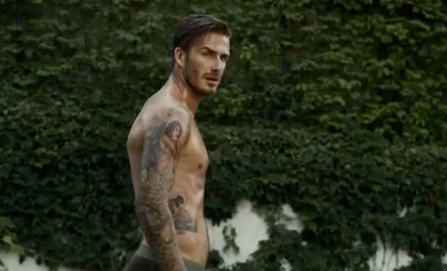 David Beckham without a shirt looking sexy