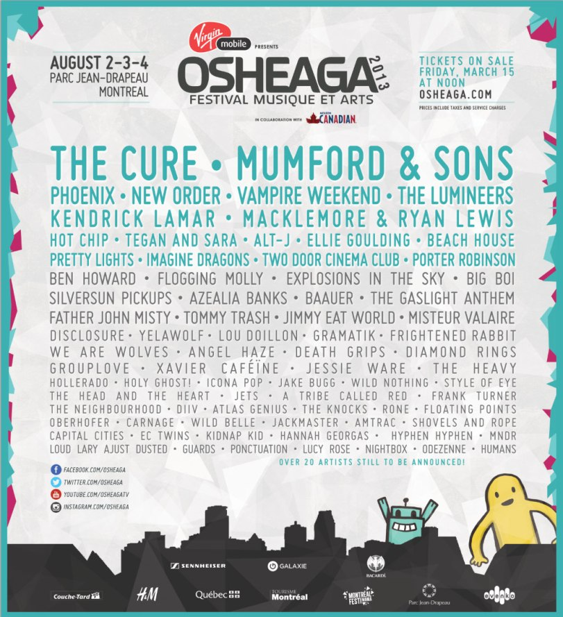 osheage lineup 2013, the cure, mumford and sons