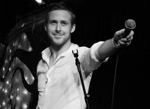ryan gosling on stage in dead man's bones
