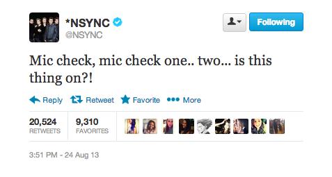 NSYNC TWEET MIC CHECK