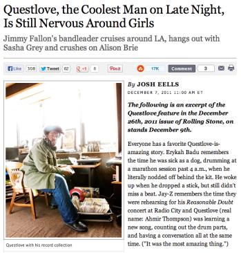Questlove Rolling Stone Headline